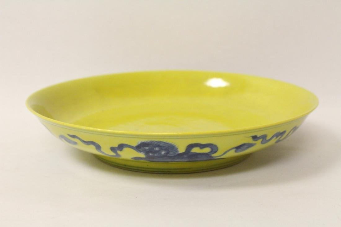 Chinese yellow glazed porcelain plate