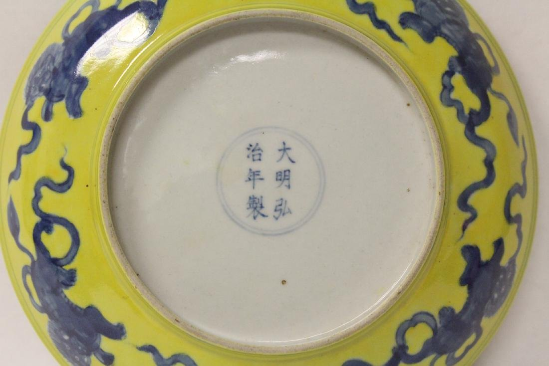 Chinese yellow glazed porcelain plate - 5