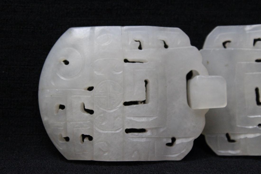 White jade 2-piece belt buckle - 2
