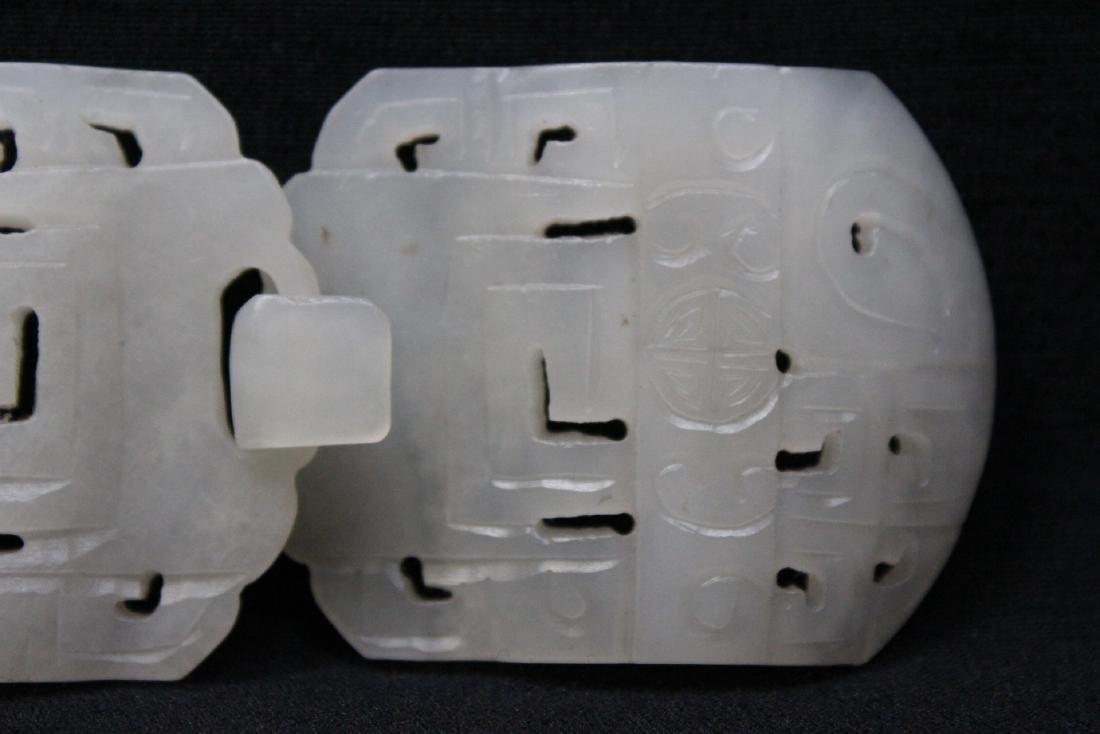 White jade 2-piece belt buckle - 3