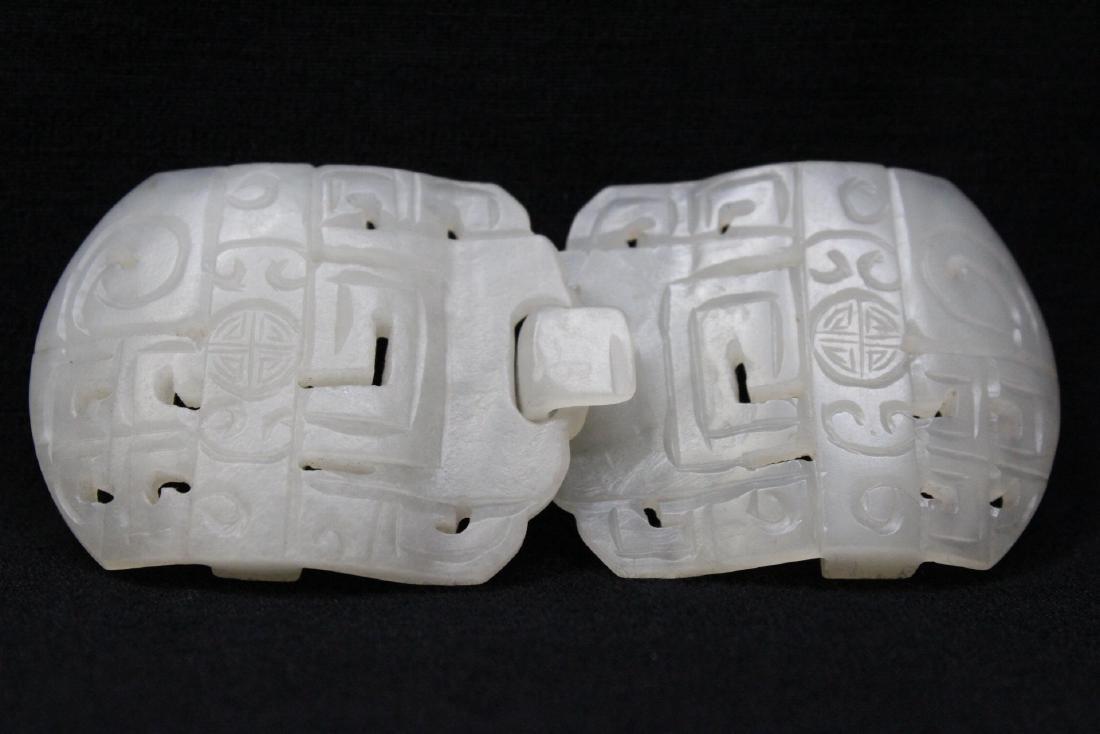 White jade 2-piece belt buckle - 7