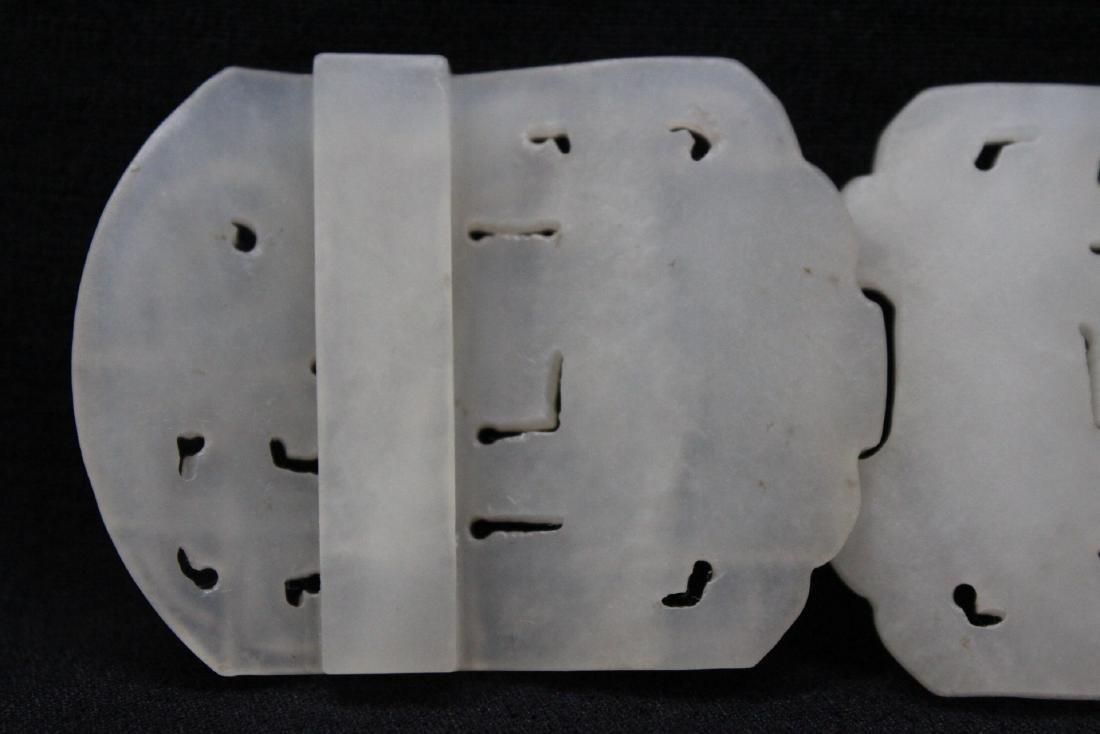 White jade 2-piece belt buckle - 9