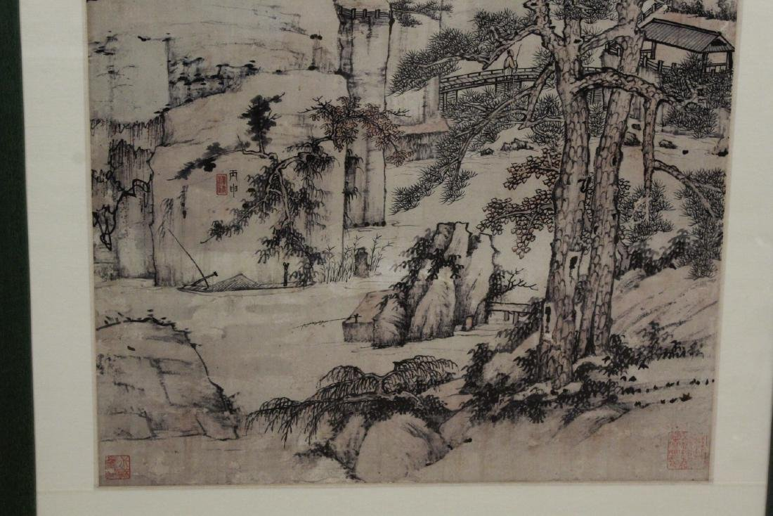 """Framed Chinese watercolor """"landscape"""" - 6"""