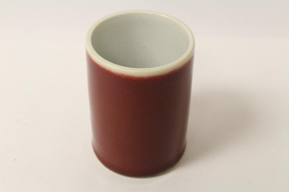 Chinese red glaze porcelain brush holder - 5