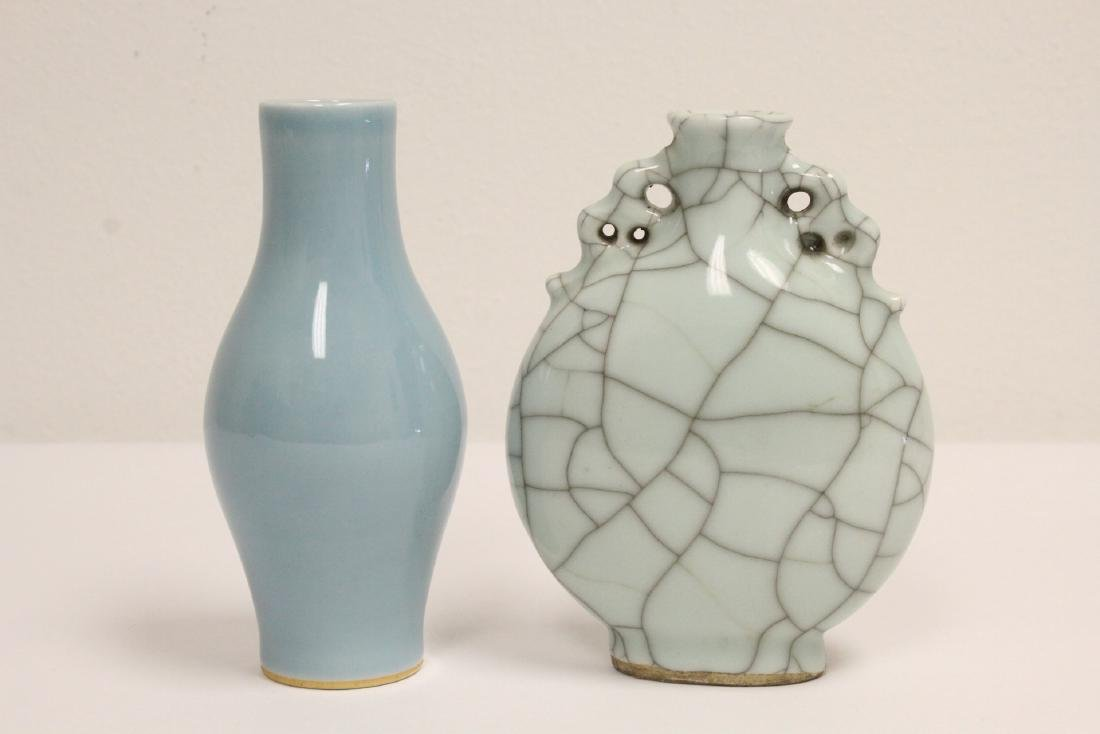 A crackle porcelain flask & a porcelain vase