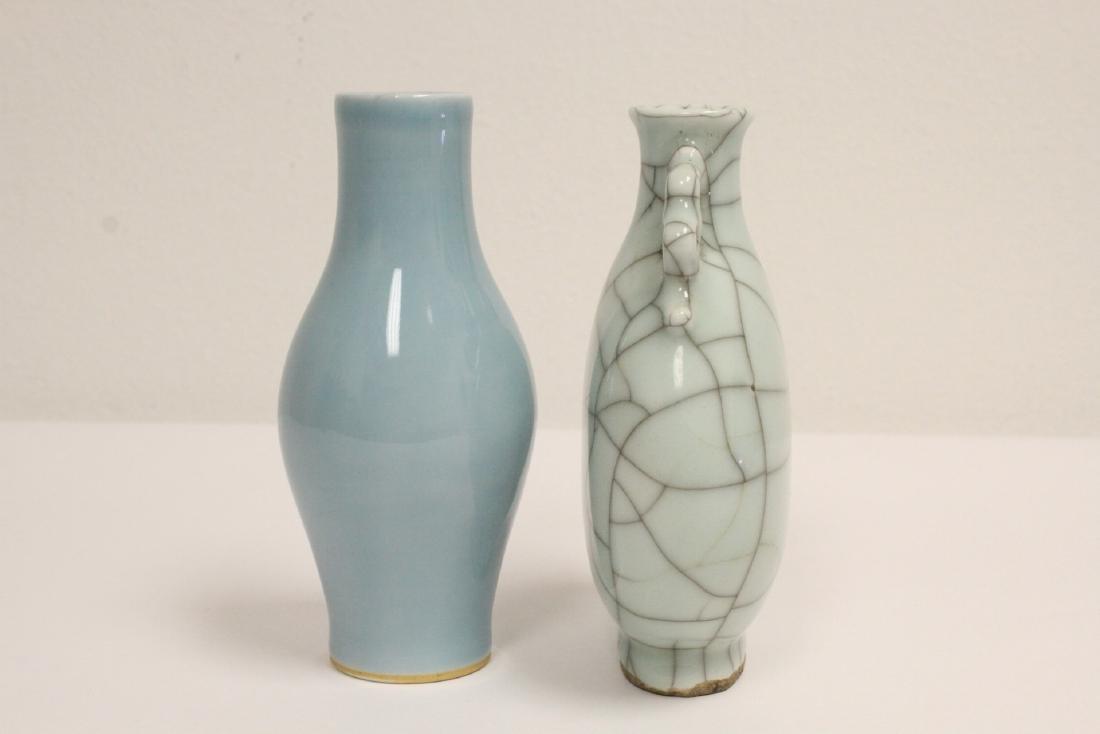 A crackle porcelain flask & a porcelain vase - 2