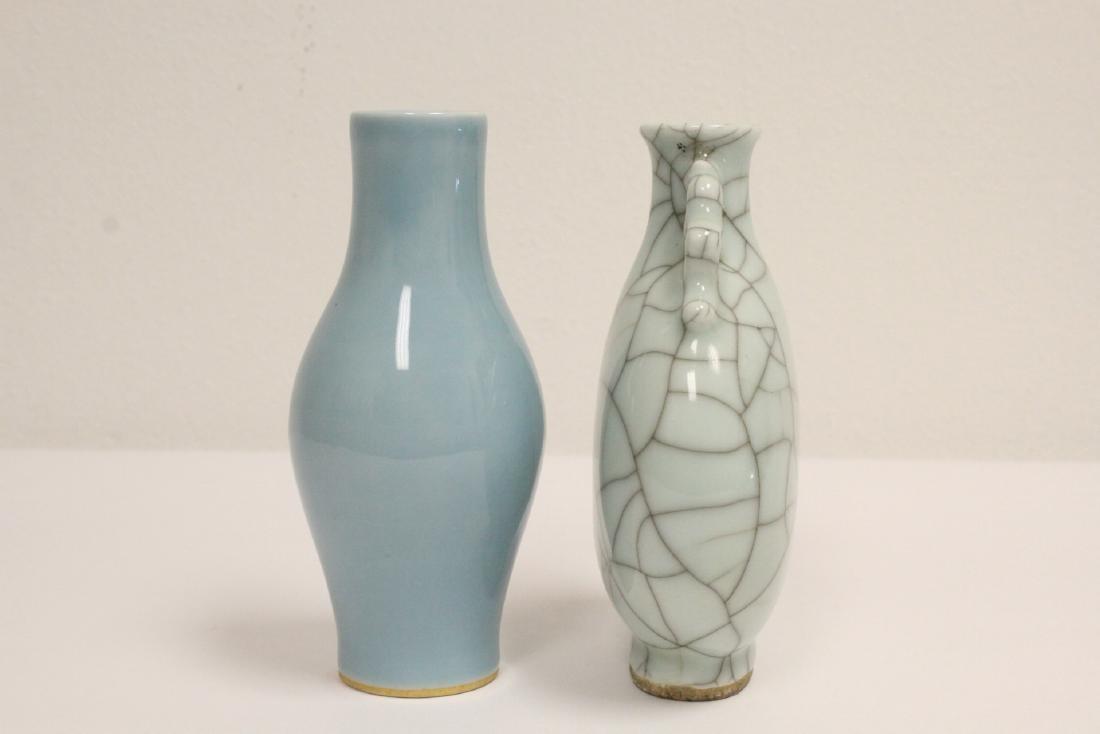 A crackle porcelain flask & a porcelain vase - 3