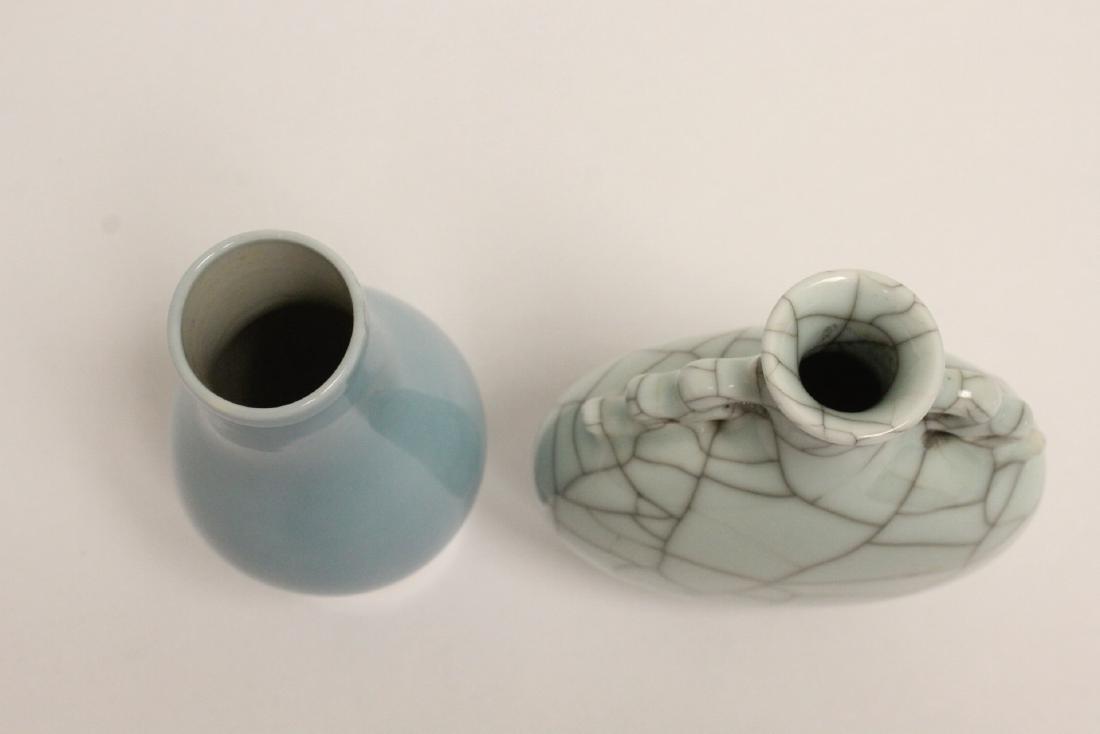 A crackle porcelain flask & a porcelain vase - 4