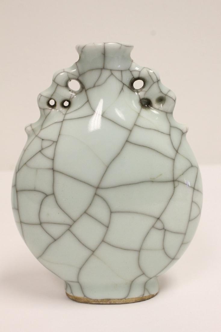 A crackle porcelain flask & a porcelain vase - 6