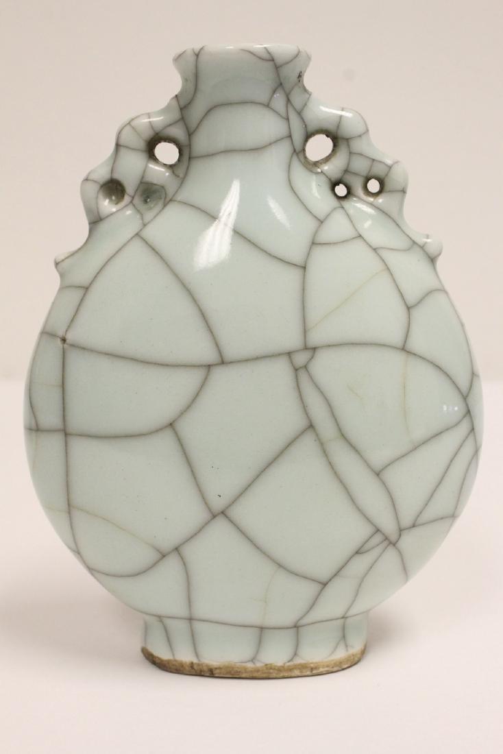 A crackle porcelain flask & a porcelain vase - 7