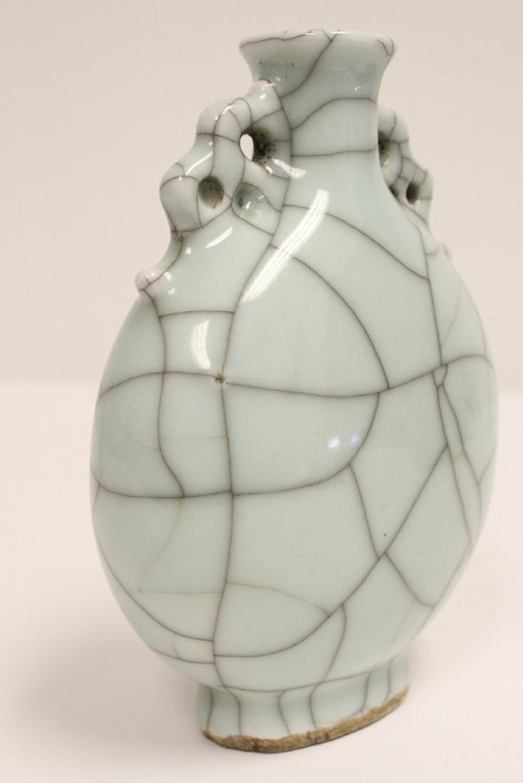 A crackle porcelain flask & a porcelain vase - 8