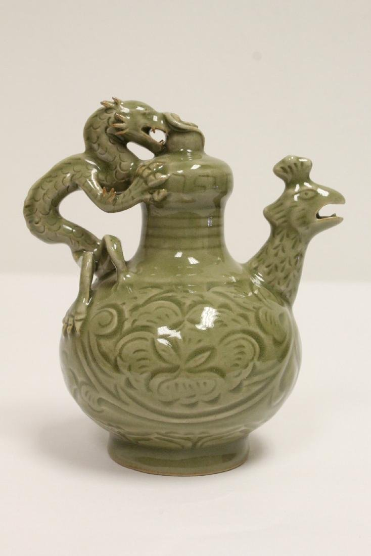 Unusual celadon wine server - 3