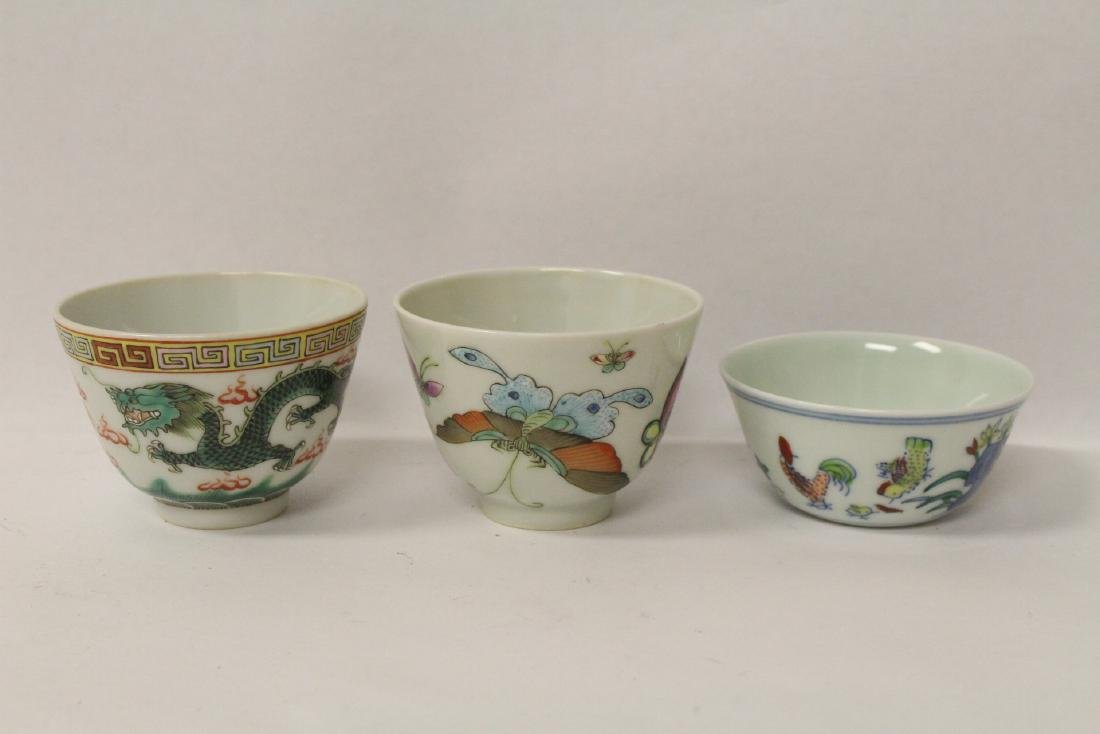 3 Chinese famille rose tea bowls