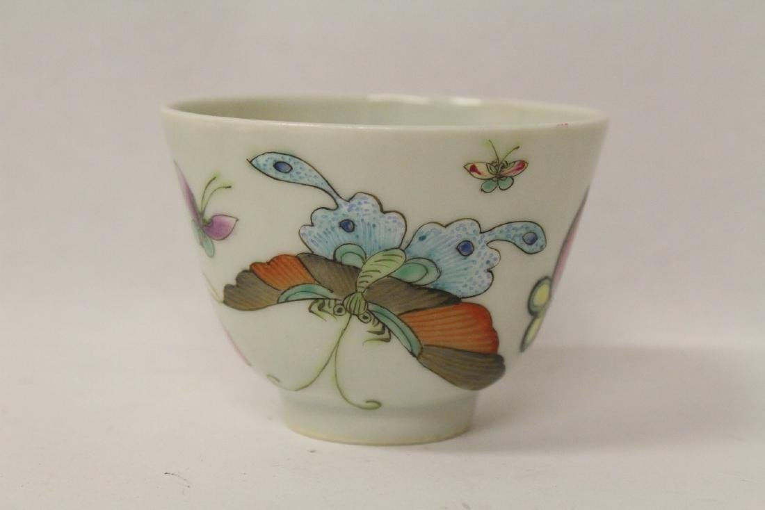 3 Chinese famille rose tea bowls - 2