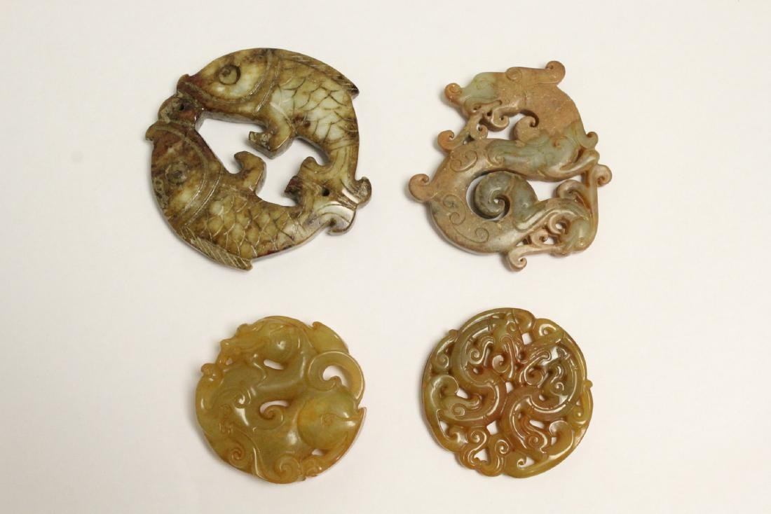 4 jade like stone carved ornaments