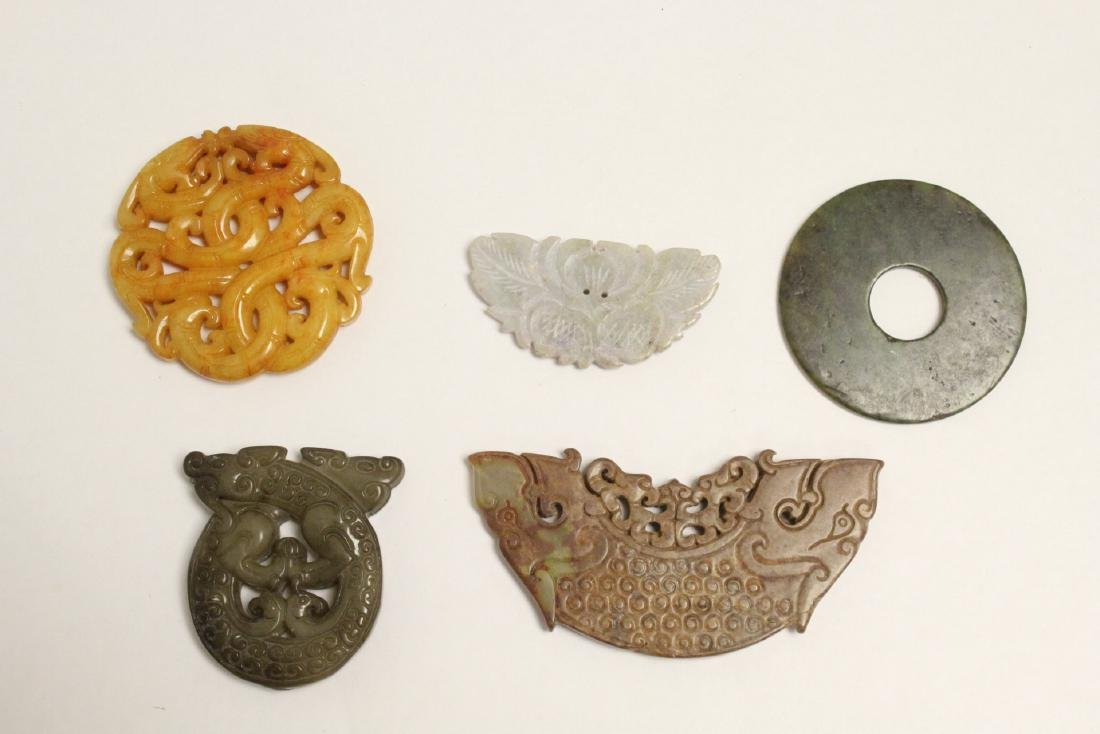 5 jade like stone carved ornaments