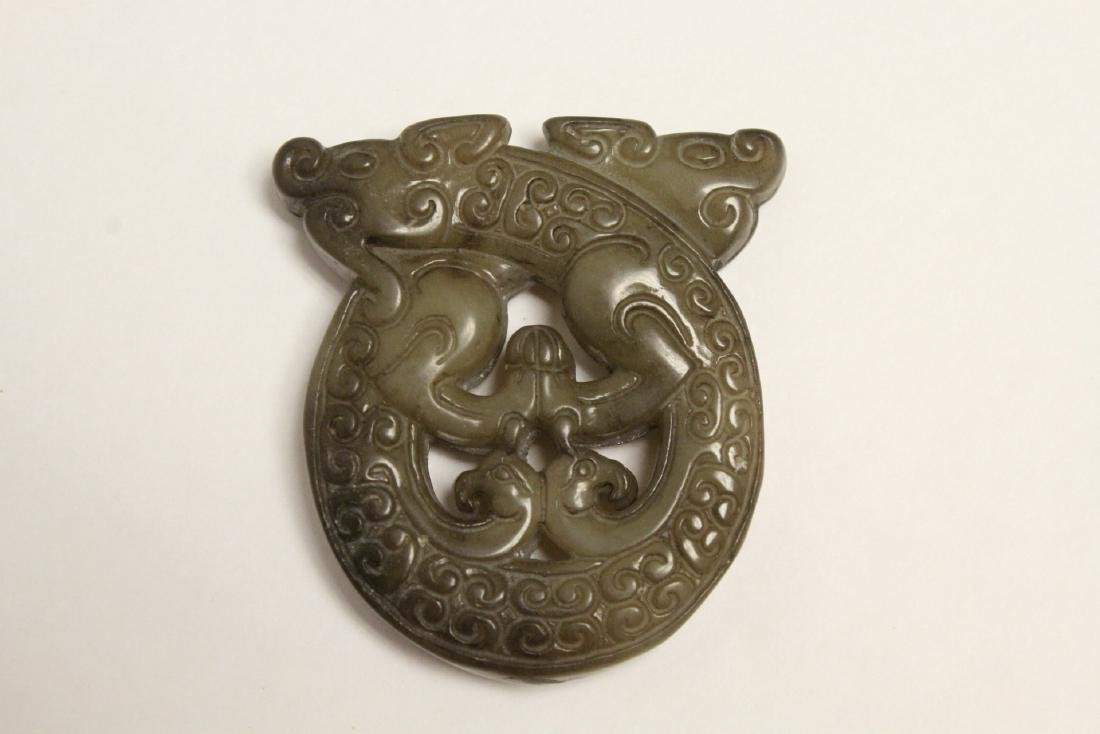 5 jade like stone carved ornaments - 8