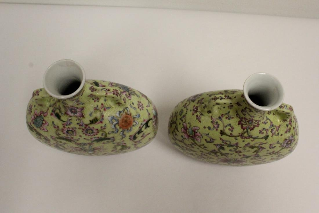 Pair Chinese famille rose porcelain wine flasks - 4