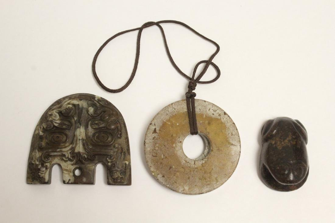 3 jade stone carved ornaments