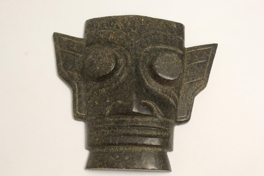 A jade like stone carved mask - 10