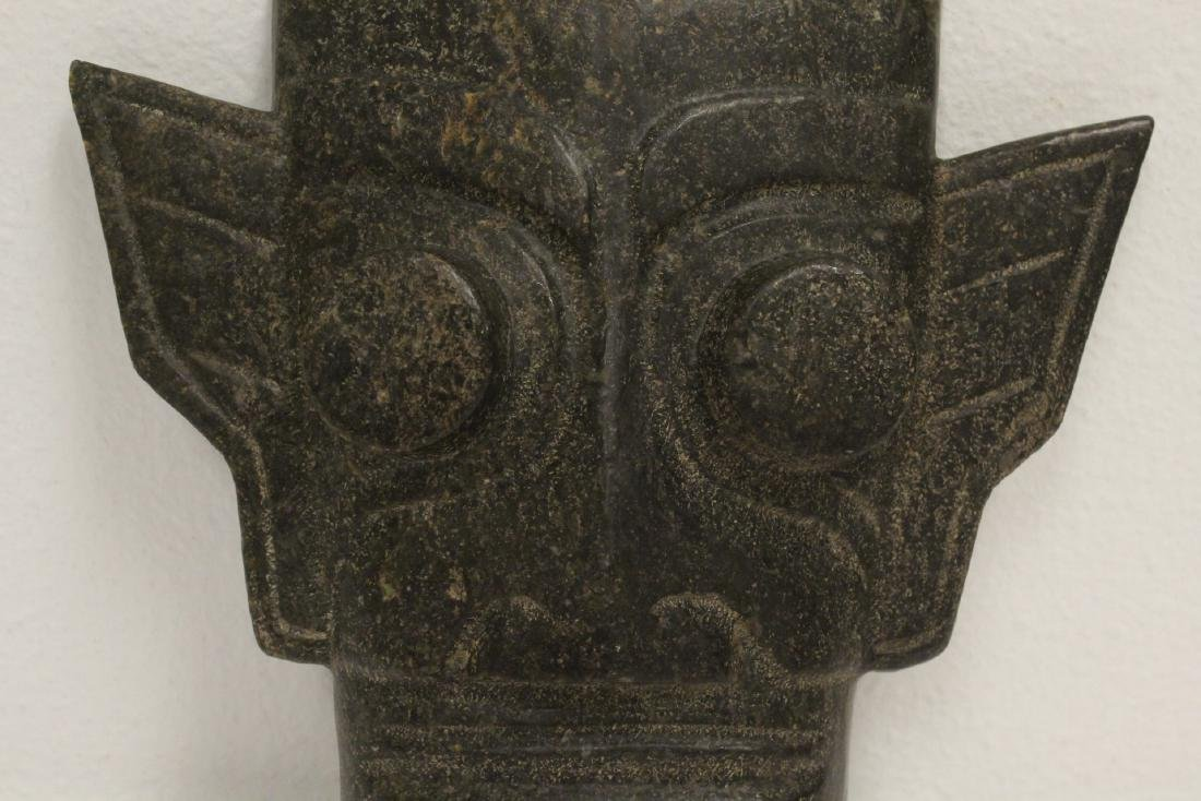 A jade like stone carved mask - 4