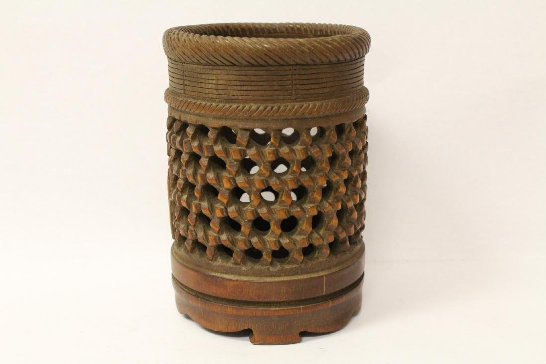 2 bamboo carved brush holders - 8