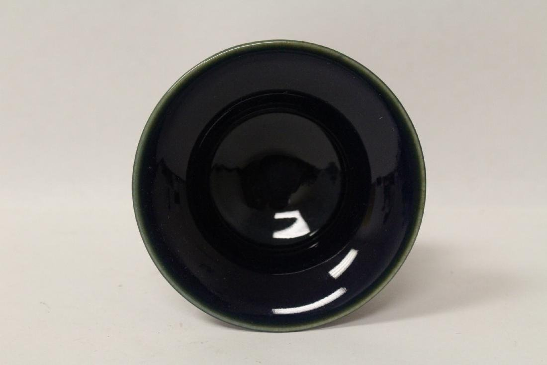 A blue glazed stem bowl and a wucai stem bowl - 3