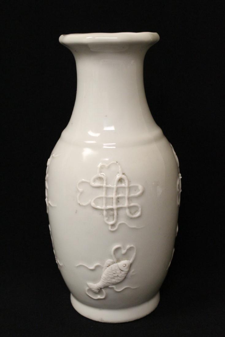 White on white porcelain vase