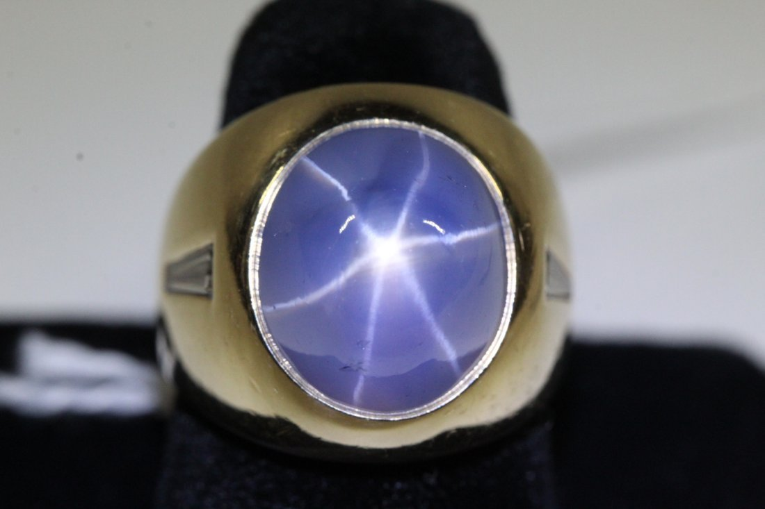 important 14K Y/G star sapphire diamond ring