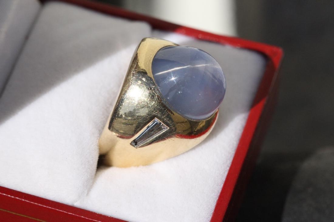 important 14K Y/G star sapphire diamond ring - 2