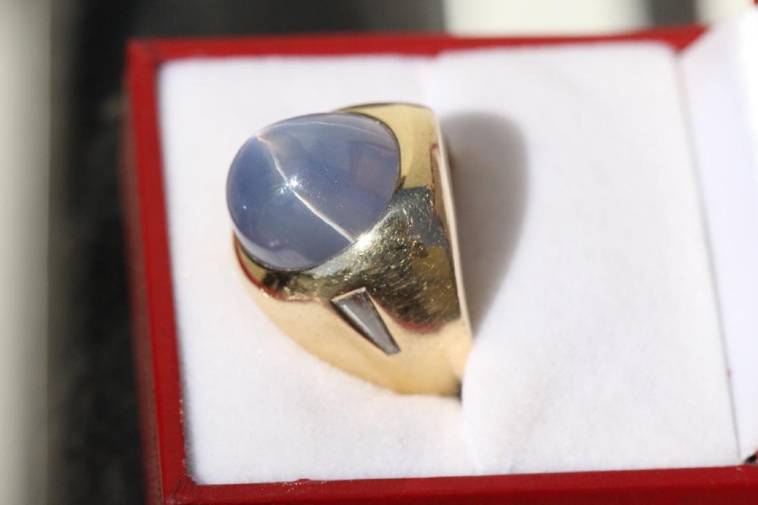 important 14K Y/G star sapphire diamond ring - 3