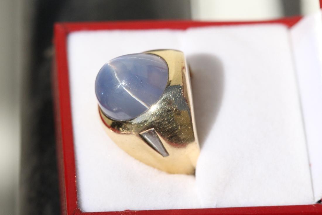 important 14K Y/G star sapphire diamond ring - 4