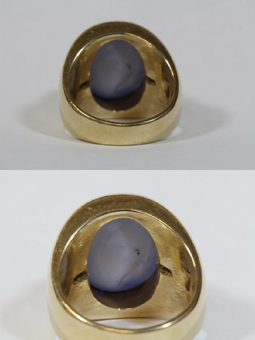 important 14K Y/G star sapphire diamond ring - 7