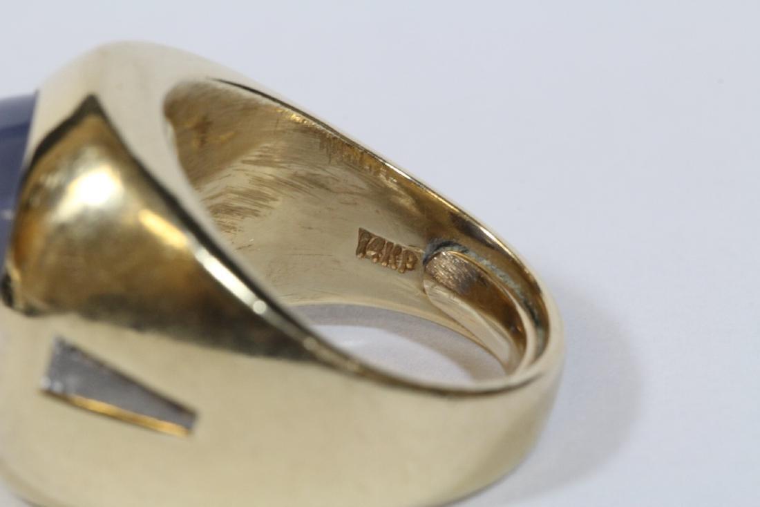 important 14K Y/G star sapphire diamond ring - 8