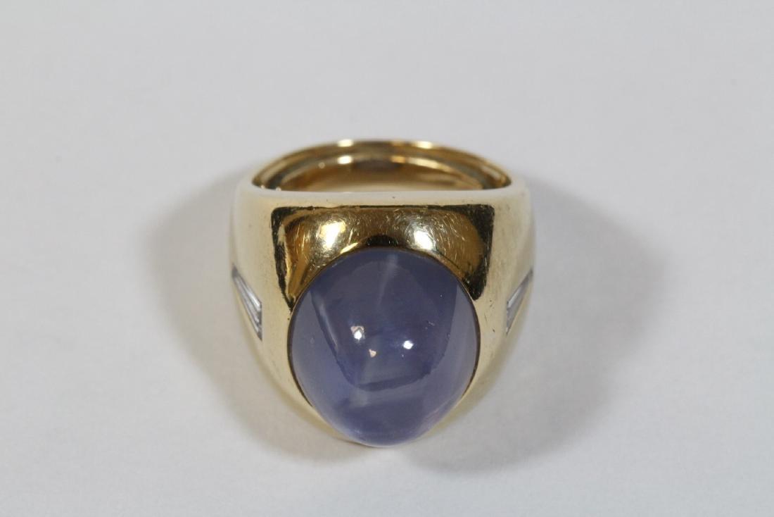 important 14K Y/G star sapphire diamond ring - 9