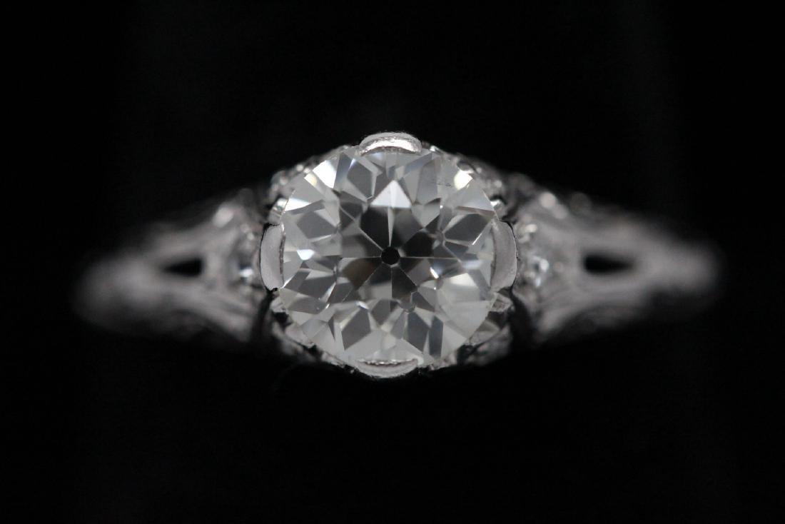 A beautiful art deco platinum diamond ring - 3