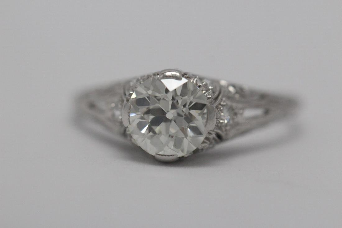 A beautiful art deco platinum diamond ring - 7