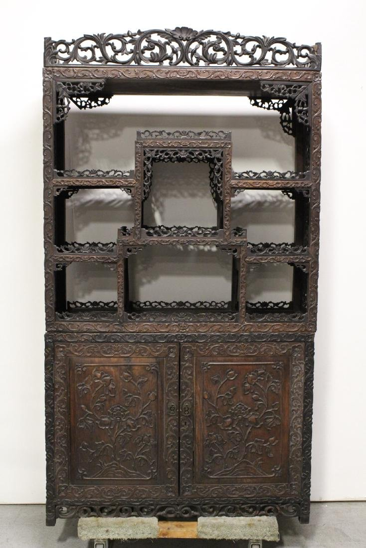 Chinese antique rosewood curio cabinet