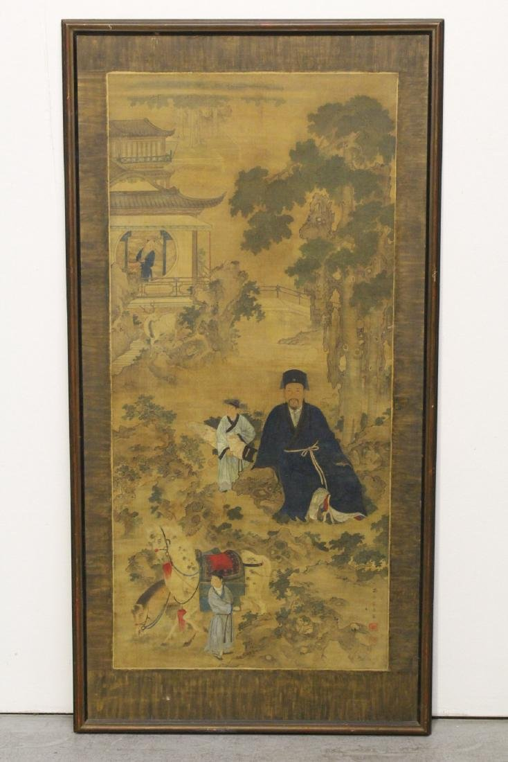 Large Chinese antique watercolor painting