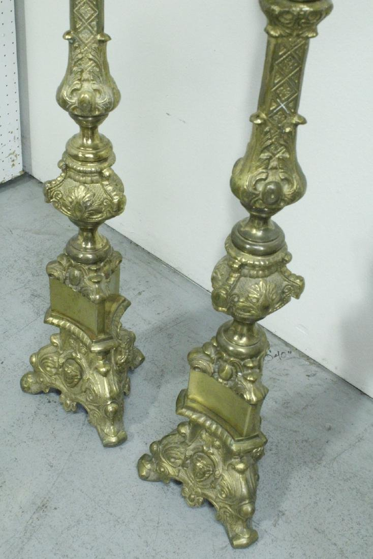 Pair heavy brass floor candle holders - 10