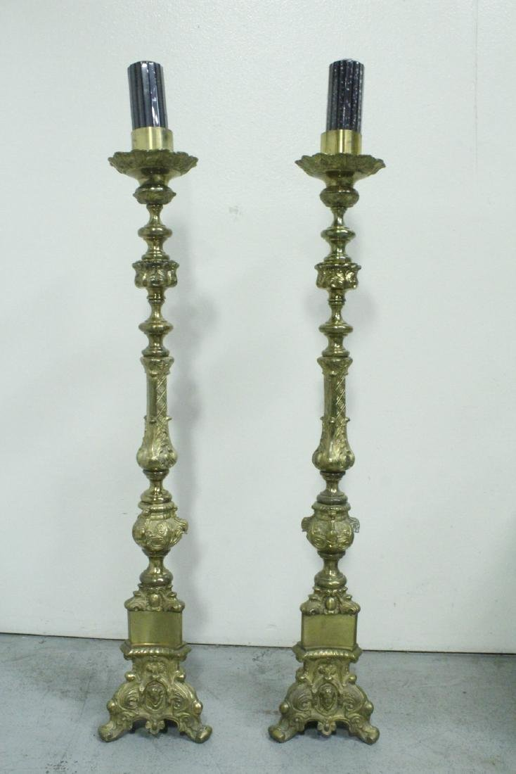 Pair heavy brass floor candle holders
