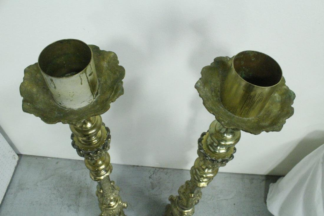 Pair heavy brass floor candle holders - 4