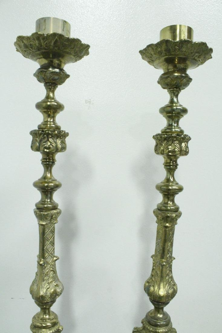 Pair heavy brass floor candle holders - 5
