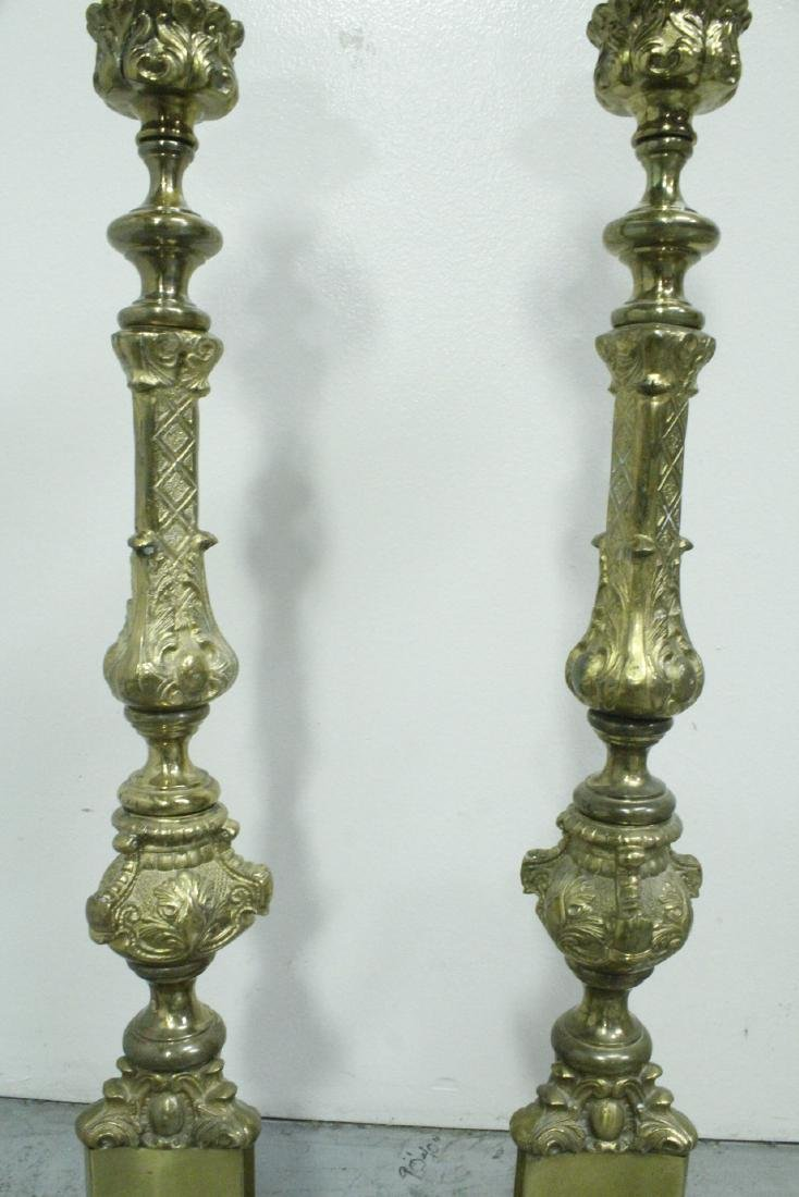 Pair heavy brass floor candle holders - 6