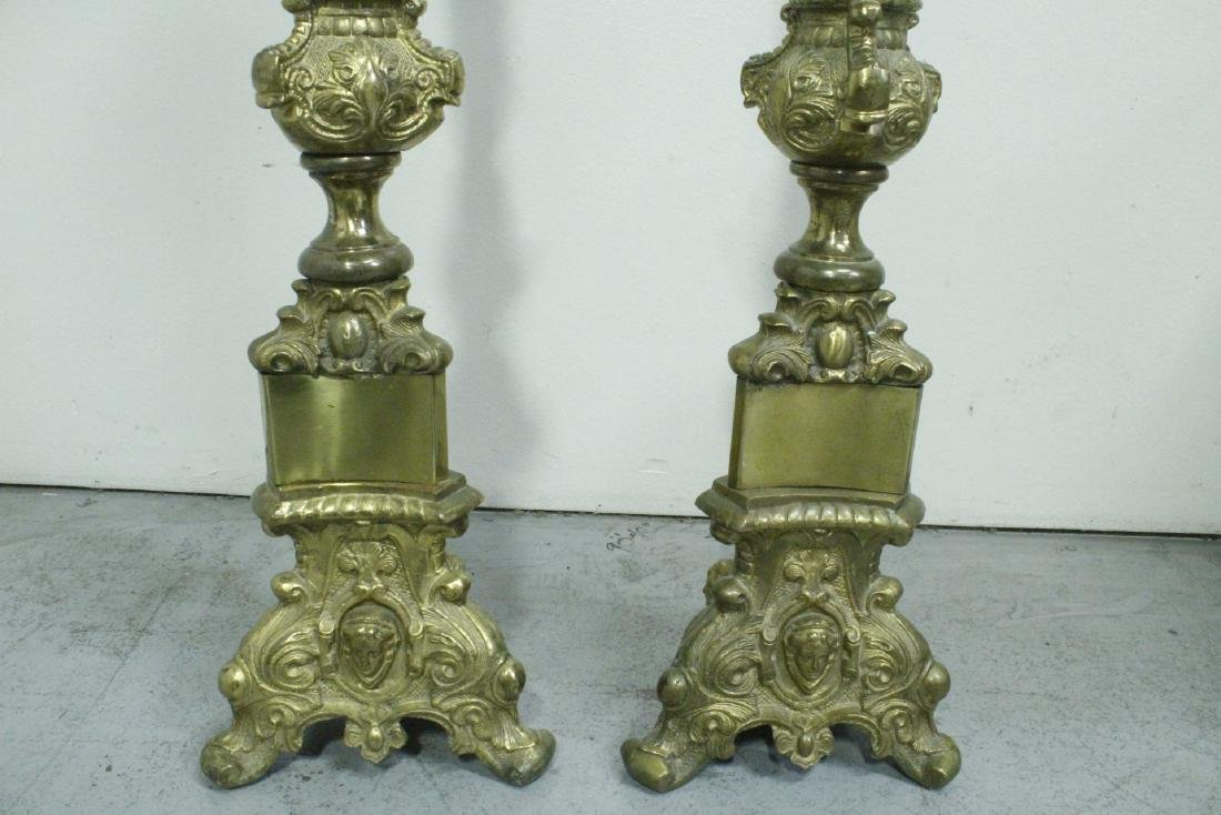 Pair heavy brass floor candle holders - 7