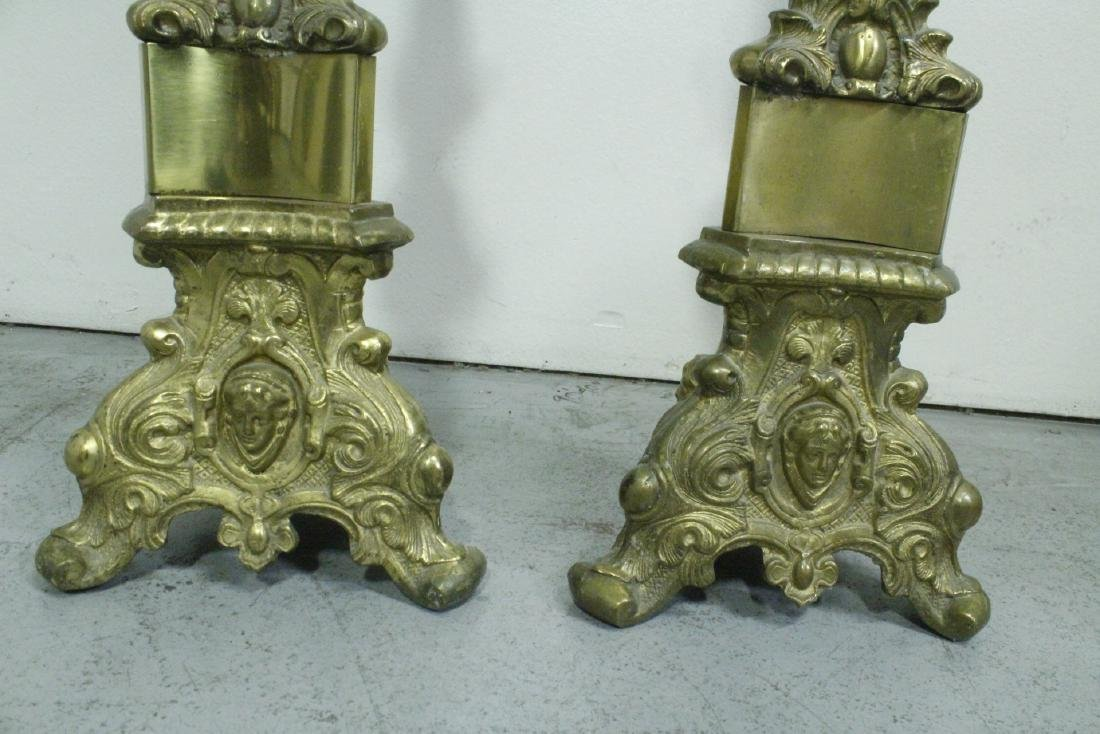 Pair heavy brass floor candle holders - 8