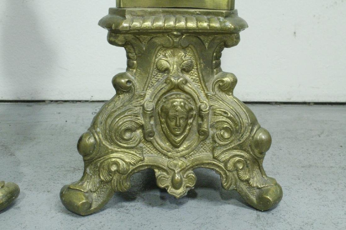 Pair heavy brass floor candle holders - 9