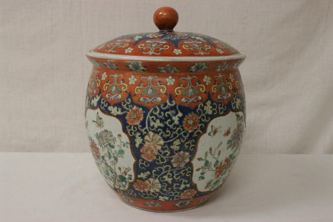 Large Chinese famille rose porcelain covered jar - 4