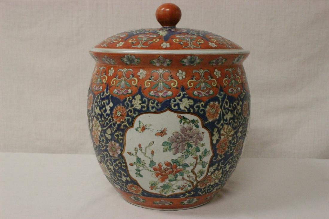 Large Chinese famille rose porcelain covered jar - 5