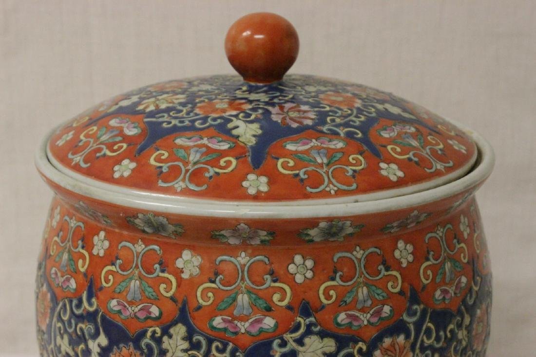 Large Chinese famille rose porcelain covered jar - 7